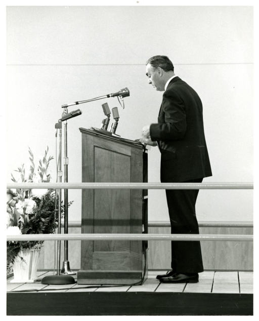 <p>Dr. Abraham Ribicoff, Secretary of Health, Education and Welfare, addresses the audience at the National Library of Medicine Dedication Ceremony.</p>