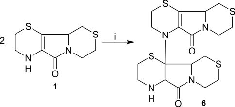 Production of a dimeric form of aminoethylcysteine ketimine decarboxylated dimer in the presence of peroxynitrite. Reagents and conditions: (i) peroxynitrite.