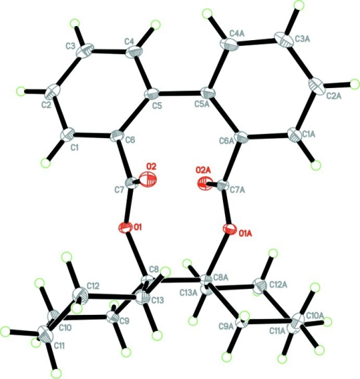 The molecular structure of the title compound showing 50% probability displacement ellipsoids for non-H atoms. Atoms with suffix A were generated by the symmetry code -x + 1, y, -z + 1/2.