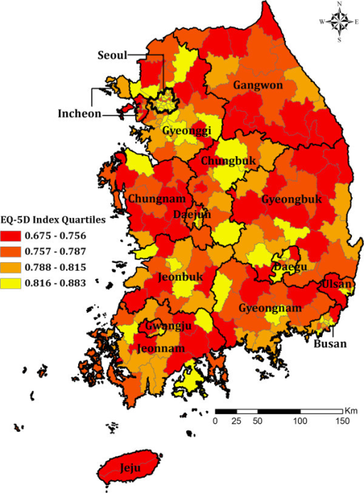 Self Rated Health Status By Census Tracts South Korea