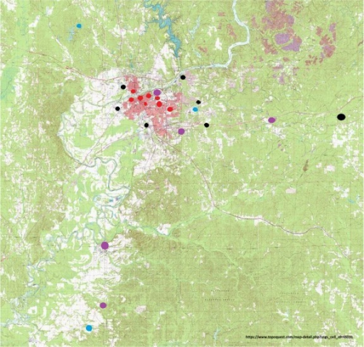 Collection sites around Tuscaloosa. Nonurban parks are marked in blue, urban parks are marked in red, sites of industrial production and industrial product storage are marked in black, and sites that do not match any of the described categories are marked in purple