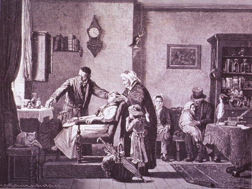 <p>Interior view: A young woman is sitting in a chair, the dentist, standing next her, is reaching to a table where his instruments are arranged; an old woman holds the woman's head from behind; a child stands next to her. Patients wait in the background.</p>
