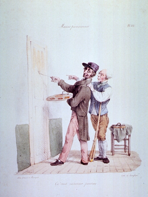 <p>Caricature:  A man is painting a door using a small brush and a painter's palette; an old man is standing behind the painter, with one hand on his shoulder and pointing to a spot on the door.</p>