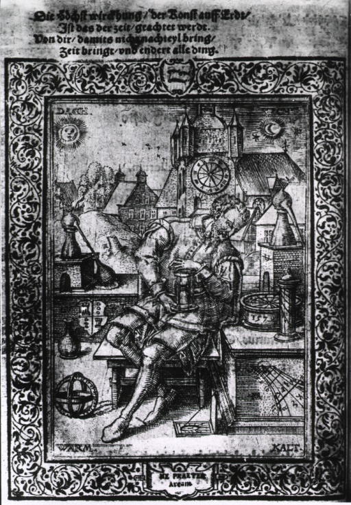 <p>A man is sitting among various chemical apparatus, he is holding an hourglass; behind him are furnaces on which sit retorts; a city fills the background. The corners of the print are labeled, day, night, warm, cold.</p>