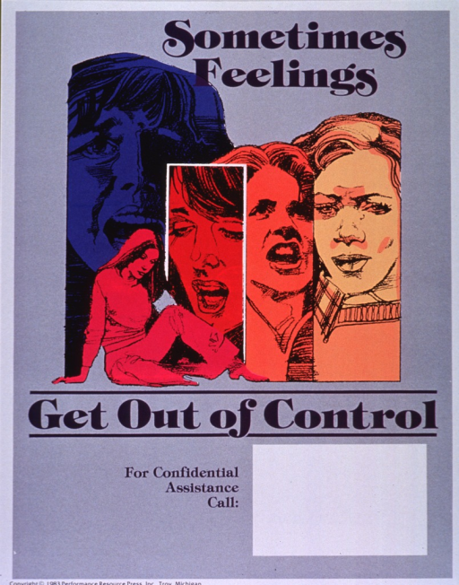 <p>Gray poster with purple lettering.  Initial title words at top of poster.  Visual image is a montage of illustrations of women exhibiting different facial expressions and body postures.  Three of the women appear to be yelling or calling out, one has a furrowed brow, and another sits and hangs her head.  Remaining title words below montage.  Space near bottom of poster for contact information, though none given.  Publisher information at bottom of poster.</p>