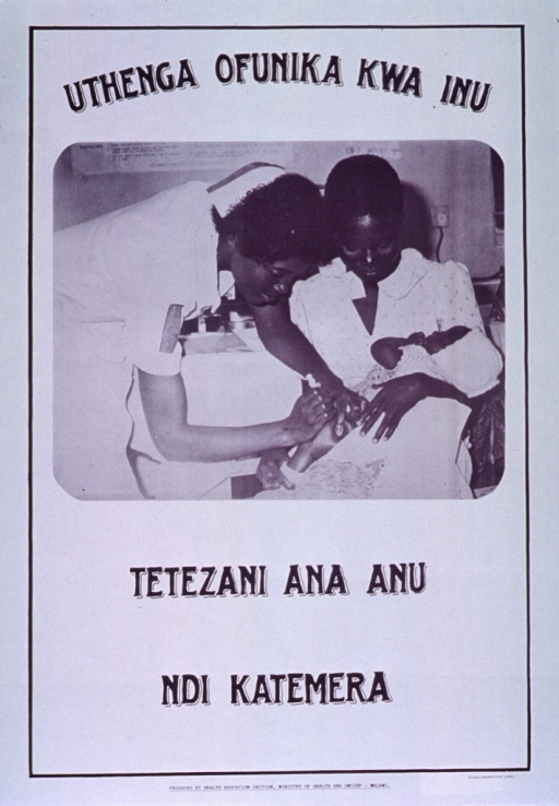 <p>White poster with black lettering.  Initial title phrase at top of poster.  Visual image is a black and white photo reproduction feturing a health worker vaccinating a baby while the mother holds the infant.  Remaining title text below photo addresses protecting with strong vaccinations.  Publisher information at bottom of poster.</p>