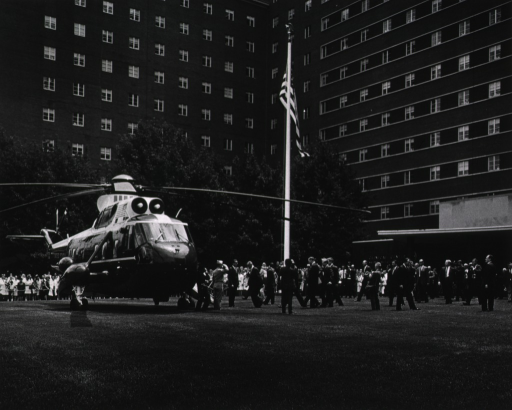 <p>President Johnson departs NIH via helicopter at the conclusion of his tour of the Clinical Center.</p>