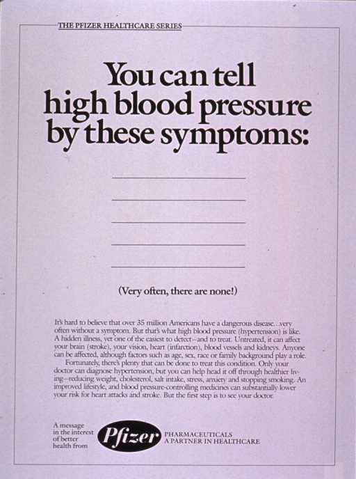 <p>White poster with black lettering.  Series information at top of poster.  Title below series information.  Five lines, with no additional text, appear below the title; the note text appears below the lines.  Additional text explains high blood pressure, including the other diseases it can cause.  A visit to the doctor is encouraged.  Publisher information at bottom of poster.</p>