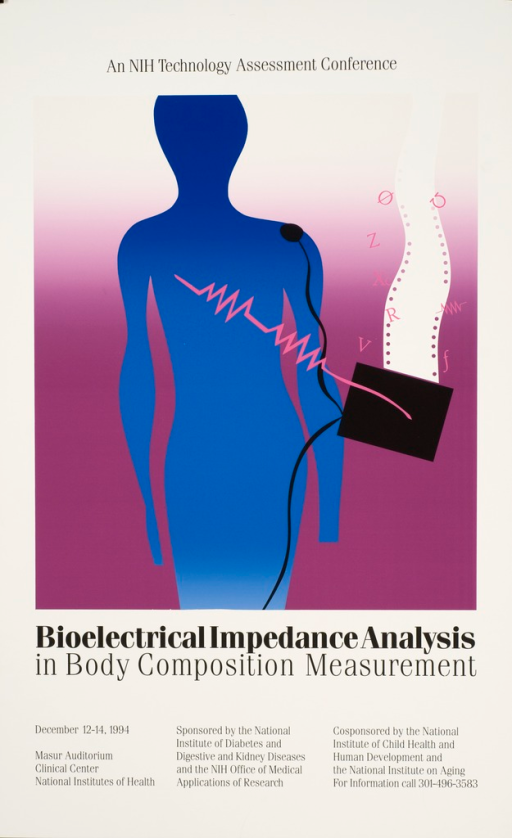 <p>Poster shows an abstract drawing of a human connected to a machine by electrodes. The title, sponsors, date, time, and location of the event are listed at the bottom of the poster.</p>