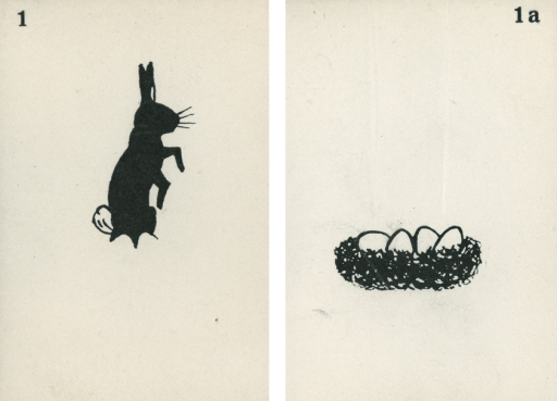 <p>A pair of strabismus diagnostic and exercise cards in black and white.  The card to the left, 1, has the image of an Easter bunny; the card to the right, 1a, has the image of eggs in a nest.  Stereoskopische Bilder fur schielende Kinder.</p>