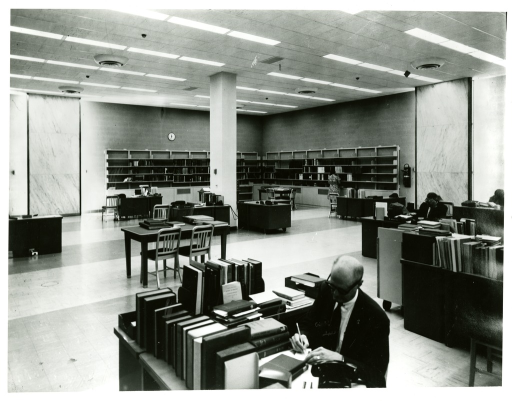 <p>Richard Cutter, Reference Services Division at the National Library of Medicine, works at his desk.</p>