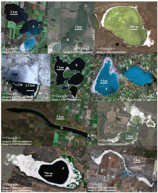 Satellite images of lakes investigated. A. Muskiki B. Patience C. Chappice D. Redberry E. Manito F. Big Quill G. Little Manitou West H. Little Manitou East I. Ingebright J. Freefight K. Bitter. Printed with the permission of Google Earth. All images are oriented with north at the top of the image.