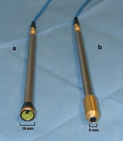 Positron (a) and collimated high-energy gamma (b) probes manufactured by Silicon Instruments (Berlin, Germany)