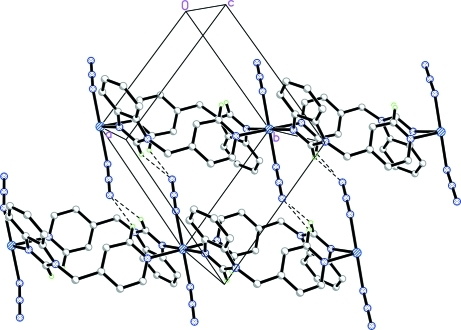 Part of the crystal packing showing the two-dimensional network in the title compound formed by interchain C—H···N hydrogen-bonded interactions (fine dashed lines). For the sake of clarity, only H atoms involved in the interactions are shown.