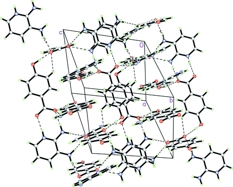 Crystal packing of the title compound, showing a part of the three-dimensional network. Hydrogen bonds are shown as dashed lines.