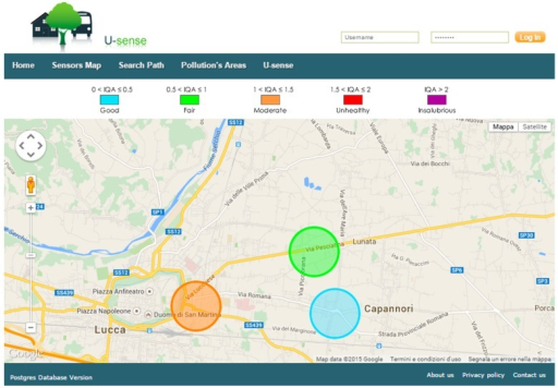 Webpage showing AQI levels for three sensor nodes.