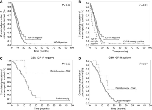 Kaplan–Meier survival curves of GBM patients according to the IGF-IR expression categorised as (A) negative (i.e., LI<1%) or positive (i.e., LI⩾1%); (B) negative (i.e., LI<1%), weakly positive (i.e., 1%⩽LI<30%) or strongly positive (i.e., LI⩾30%), and Kaplan–Meier survival curves of GBM patients according to the adjuvant treatment in IGF-IR-negative (i.e., LI<1%) (C) or IGF-IR-positive (i.e., LI⩾1%) (D) cases. Each dot symbolises a death due to cancer and each cross indicates a survivor or a death not related to cancer (censured data).