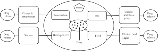 Various stimuli responsible for controlling drug release from smart polymeric drug delivery systems.