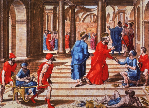 <p>Saints John and Peter stop to comfort a lame man on the steps to a temple.  In the foreground, a man holding a crutch and sitting on a litter is being transported by two men.</p>