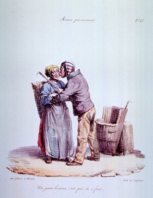 <p>Caricature:  A woman with a basket strapped on her back is being kissed by a man; he also has a basket which he has taken off and set on the ground.  They each have a stick used to pick up rags.</p>
