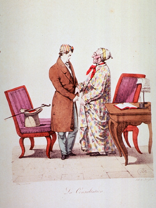 <p>A physician is taking the pulse of an old patient standing next to a large desk and chair; behind the physician is another chair on which rests a top hat and walking stick; the patient is wearing a long robe and a cap.</p>