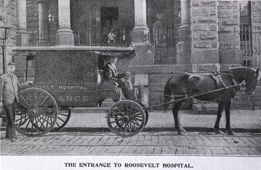 <p>Horsedrawn ambulance in front of entrance.</p>