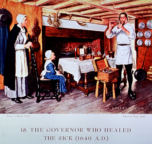 <p>Interior view showing John Winthrop (Governor of Massachusetts Bay Colony) preparing medicine for a young patient.</p>