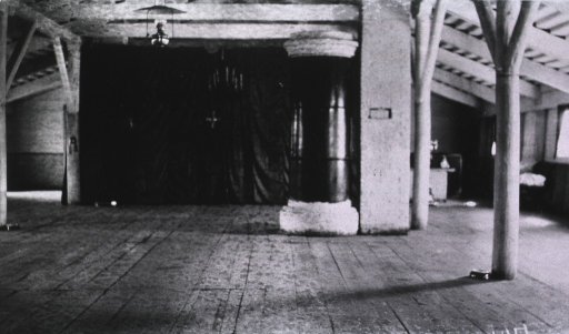 <p>The interior of the assembly room at the Evacuation Commission Hospital.</p>