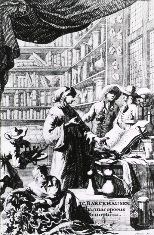 <p>Interior view: a pharmacist is standing at a table consulting a large book; various pieces of equipment are on the table; three men are standing to the right; in the background are shelves of apothecary jars, other containers, and books.</p>