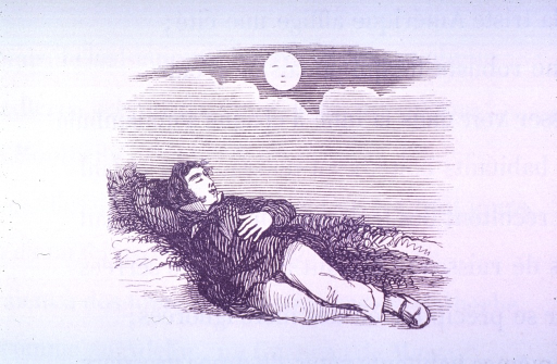 <p>Vignette of a man sleeping on the ground under the moon.</p>