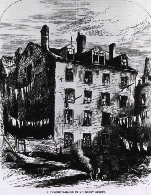 <p>A tenement house in Mulberry Street, condemned by the New York Board of Health in 1871, and then reoccupied in 1873.</p>