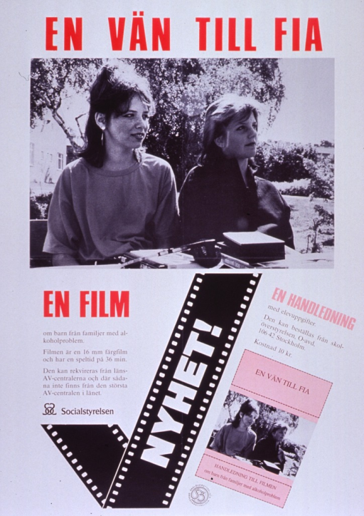 <p>Predominantly white poster with multicolor lettering.  Initial title phrase at top of poster.  Dominant visual image is a b&amp;w photo reproduction of two women sitting out doors.  Remaining title text below photo.  Additional text indicates that the film is intended for children from families with alcohol problems and that a tutorial is available.  An illustration of a check mark made from film and a smaller version of the photo are in the lower portion of the poster.  Publisher and sponsor information near check mark.</p>
