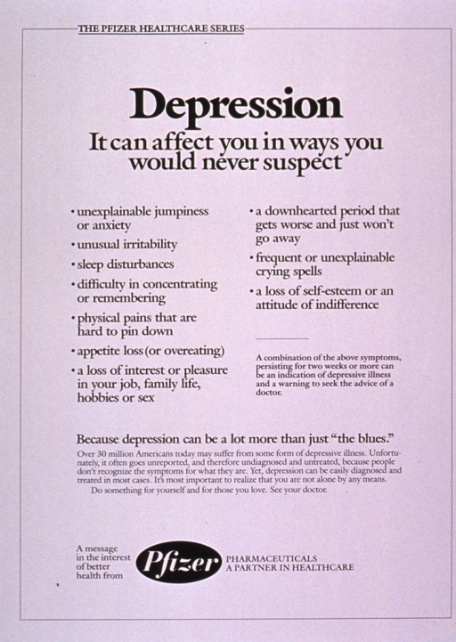 <p>White poster with black lettering.  Series information at top of poster.  Title below series information.  Depression symptoms, note text, and additional text urging a visit to the doctor if needed appear below title.  Publisher information at bottom of poster.</p>