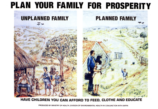 <p>White poster with black lettering.  Title at top of poster.  Two multicolor illustrations below title.  Illustration on left bears phrase &quot;unplanned family&quot; and features an underfed and poorly dressed ten-member family living in a thatch hut.  Illustration on right bears phrase &quot;planned family&quot; and shows a prosperous four-member family standing by a well-built house.  The parents wave to the older son as he leaves for school.  Caption below illustration.  Publisher information below caption.</p>