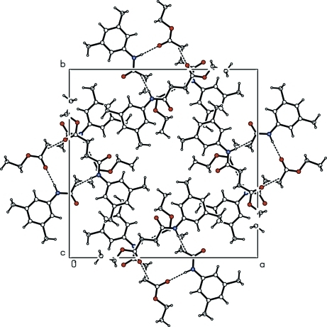 Molecular packing of (I) with hydrogen bonds shown as dashed lines.