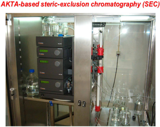 Steric-exclusion chromatography enables isolation and molecular sieving of large, supermolecular complexes/signalsomes. One configuration of steric-exclusion chromatography optimized in the authors' laboratory makes use of the Pharmacia AKTA-based liquid handler equipped with large diameter, long (30-60 cm) columns packed with wide-bore matrices such as Sephacryl 200, 400, or larger. The system can accommodate large sample loading and provides excellent performance in efforts designed to isolated very large supermolecular complexes like the Dishevelled3-based signalsomes highlighted in this article.