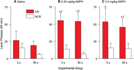 Amphetamine potentiates CR, but not NCR, lever presses in both the 5- and 90-s groups.Presses on the CR and NCR levers following an acute injection of saline (panel A), 0.25 (panel B) and 0.5 (panel C) mg/kg amphetamine. Values are mean ± SEM. n's = 5/group. s, seconds; CR, conditioned reward lever; NCR, non-conditioned reward lever; AMPH, amphetamine. *p<0.05 compared with NCR within the same group. α p<0.05 compared with CR under saline.