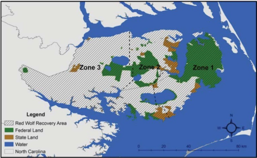 Management zone boundaries within the Red Wolf Recovery Area of northeastern North Carolina.
