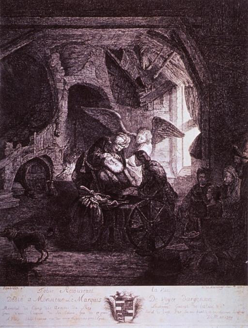 <p>Interior view: An old man is being examined by another man as an old woman and an angel observe. There is a spinning wheel in the foreground; a small group of people sitting to the right; and a dog standing to the left. Light enters through a window.</p>