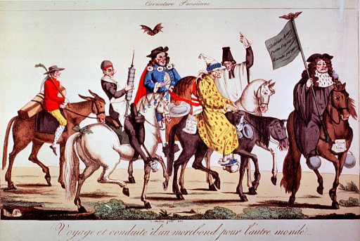 <p>A caravan of carnival figures on horseback, one of which is carrying a clyster.</p>