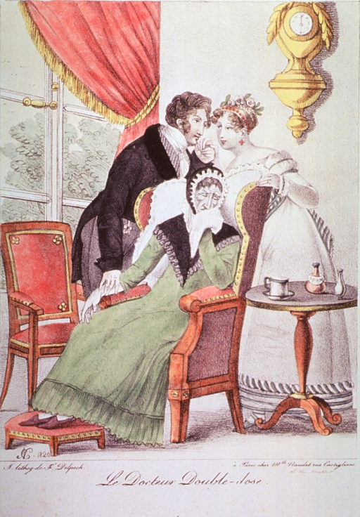 <p>A physician is taking the pulse of an old woman sitting in a chair; he is also  kissing the hand of the old woman's daughter who is standing behind the chair.</p>