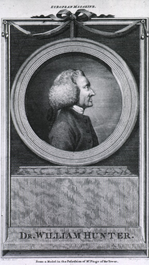 <p>Right profile in oval medallion on base.  &quot;Dr. William Hunter&quot; printed at bottom of plate.</p>