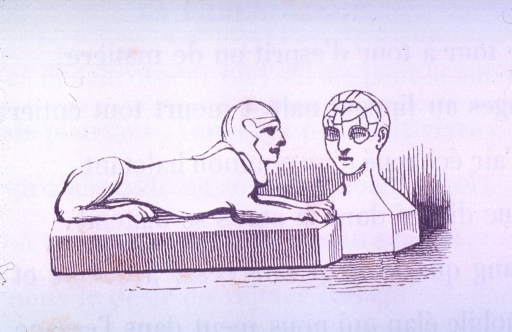 <p>Vignette of a statue of the sphinx intently regarding a phrenological bust.</p>