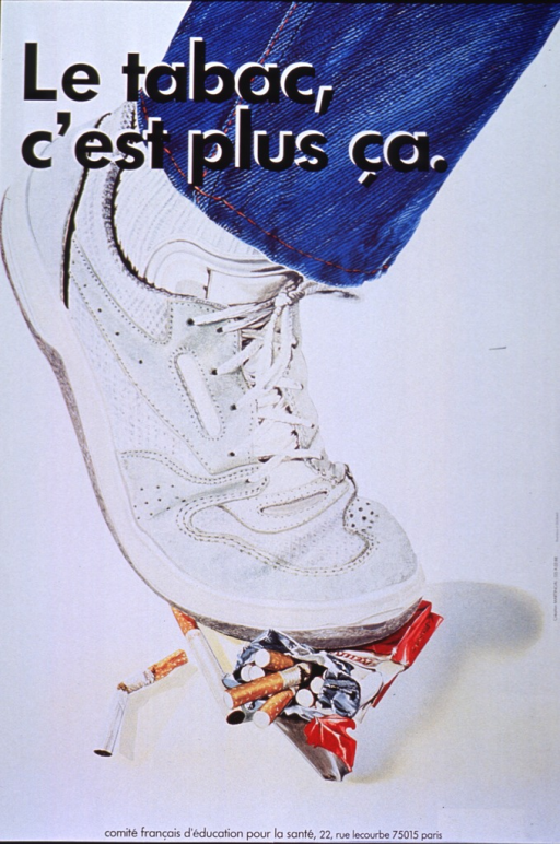 <p>White poster with black lettering.  Dominant visual image is a color print of a pack of cigarettes being crushed underfoot.  Only the lower leg and foot of the person crushing the cigarettes is visible.  The person wears blue jeans, white athletic socks, and sneakers.  The cigarettes are in a red and white box.</p>