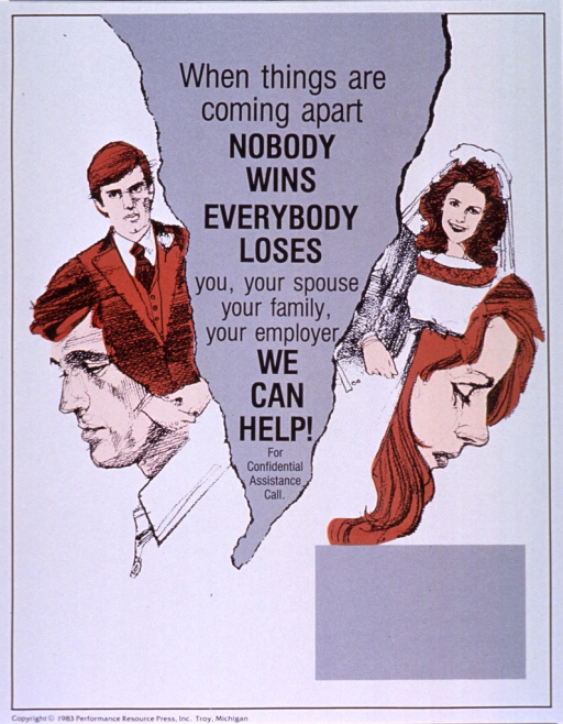 <p>White and gray poster with black lettering.  Title in vertical center of poster, against an irregular, cone-shaped backgroung that gives the effect of a large crack.  Illustrations of brown-haired husband and wife are on opposite sides of the crack, both in wedding clothes and with hanging heads.  Space provided near bottom of poster for contact information, though none given.  Publisher information at bottom of poster.</p>