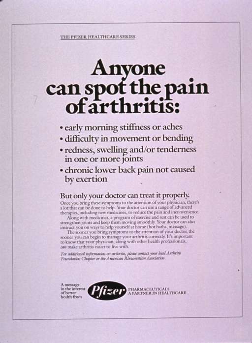<p>White poster with black lettering.  Series information at top of poster.  Title below series information.  List of arthritis symptoms, note text, and discussion of therapies below title.  Publisher information at bottom of poster.</p>