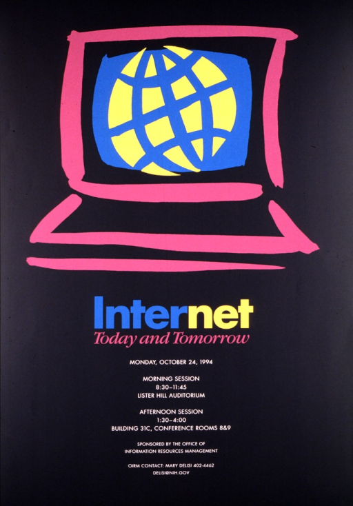<p>Black poster with magenta, turquoise, and yellow rough drawing of a computer terminal.  The date for the lecture is Monday, Oct. 24, 1994, and the time, location, contact person, phone number, and e-mail address are also given.</p>