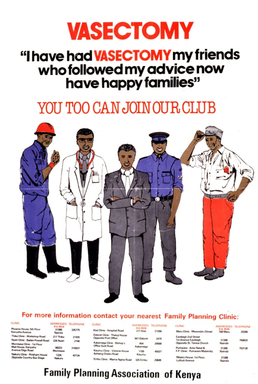 <p>White poster with red and black lettering.  Title at top of poster.  Caption below title.  Visual image is an illustration of five smiling men, representing various occupations.  Contact information for area clinics listed below illustration.  Publisher information at bottom of poster.</p>