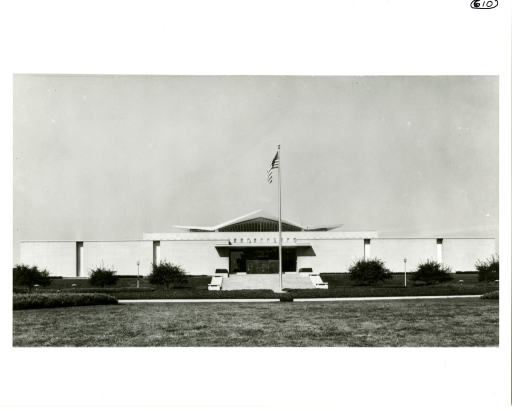 <p>Distant exterior view of the newly constructed National Library of Medicine.</p>