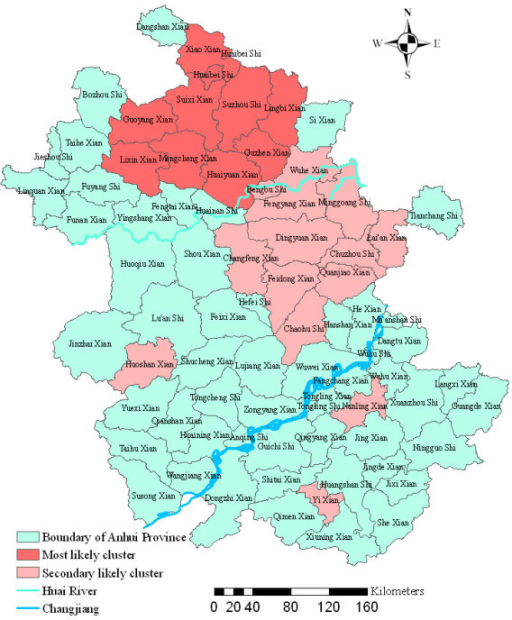 Spatial distribution of clusters of malaria with significant higher incidence using the maximum cluster size < 25% of the total population in Anhui province, China, 2000–2006.